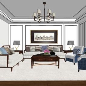 美式客厅su模型下载