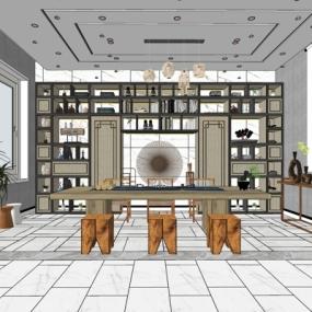 新中式茶室su模型下载