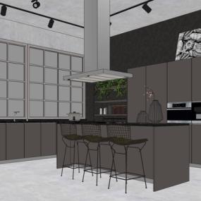 现代厨房su模型下载