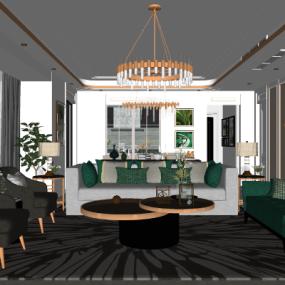 美式轻奢客厅餐厅su模型下载