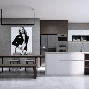 现代开放式厨房su模型