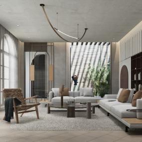 现代别墅客厅su模型下载