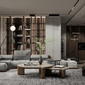 现代客厅su模型下载