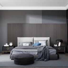 现代卧室su模型下载