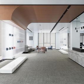 现代办公室休息区su模型下载